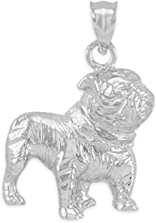 Polished 925 Sterling Silver English Bulldog Charm Pendant