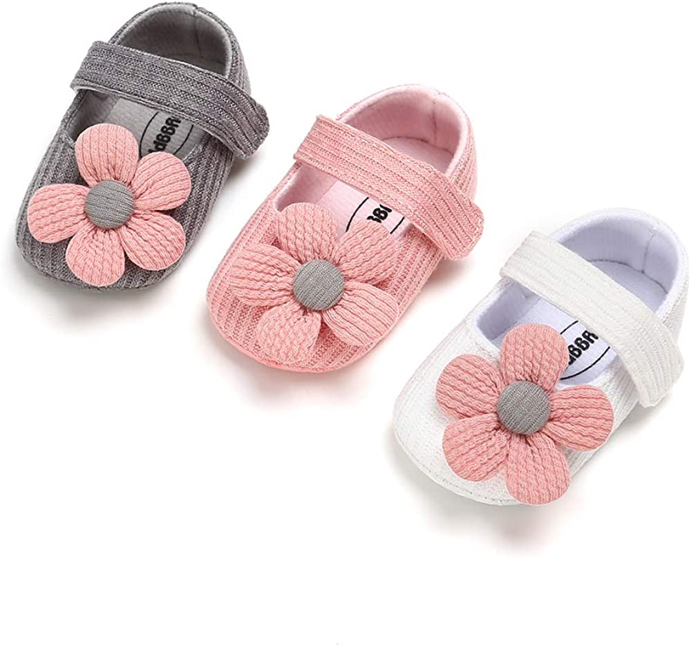 BERTY Baby Girls Mary Jane Flats with Bowknot Non