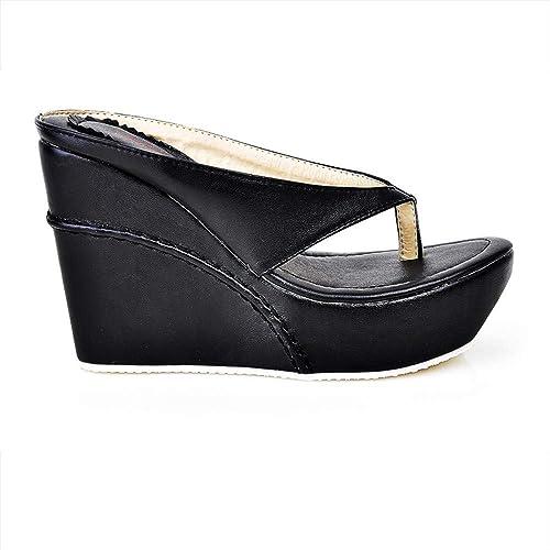 chaussuresDQ Pente Confortable de Grande Taille de Plate-Forme imperméable de Chevrons d'été avec des Pantoufles Confortable