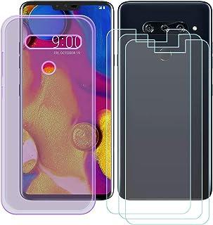 YZKJ Fodral för LG V40 ThinQ Cover lila silikon skyddande hölje TPU skal fodral 3 stycken pansarglas skärmskydd för LG V40...
