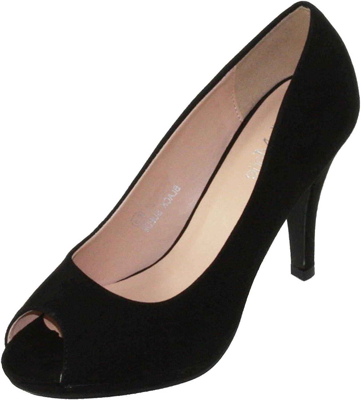 Bella Marie Women's Classic Peep Toe Platform Stiletto High Heel Dress Pump