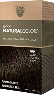 ONC NATURALCOLORS 4G Dark Golden Brown Healthier Permanent Hair Color Dye 4 fl. oz. (120 mL) with Certified Organic Ingredients, Ammonia-free, Resorcinol-free, Paraben-free, Low pH, Salon Quality, Eas