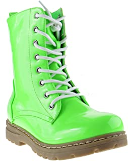 489ad18ef2da Nature Breeze Gwen 01 HI Womens Patent Milatary Lace Up Combat Boots