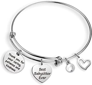 Babysitter Appreciation Gifts Babysitter Bracelet Gift Thank You for Your Caring Best Babysitter Ever Thank You Gifts Nanny Gift Daycare Provider Gifts