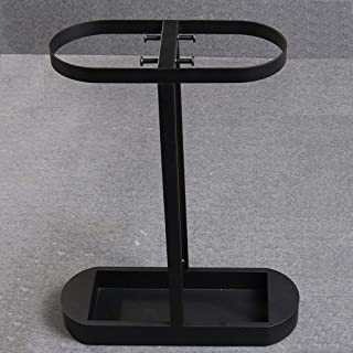 Yxsd Umbrella Stand Long Short Umbrella Rack Free Standing Holder for Canes Walking Sticks, with Drip Tray 4 Hooks,Black