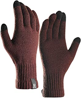 Thermal Knitted Gloves for Men/Winter Outdoor Windproof Self-Heating Motorcycle Riding Ski Hunting Mittens/Three-Fingers Touch Screen