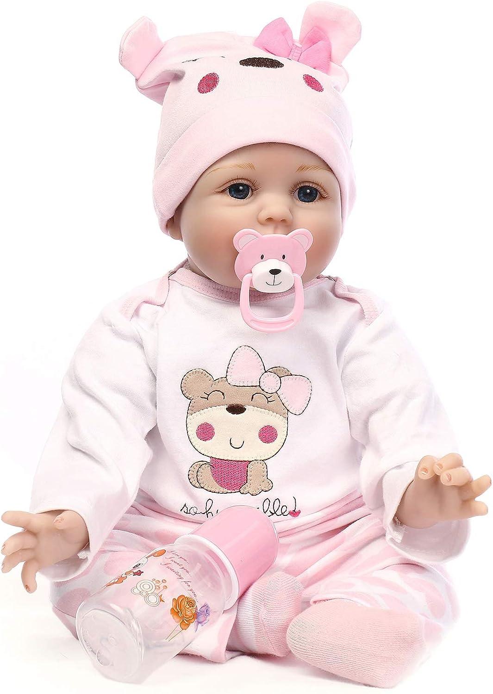 IIWOJ 40cm Reborn Baby Doll Simulation Cute BigEyed Silicone Doll