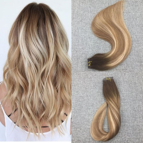 Moresoo Tape in Extensions Human Hair Real Extensions Seamless Skin Weft Hair 16inch 20pcs 50G Real Remy Hair Extensions Glue in Human Hair Colored #3 Brown Fading to #8 Brown and #22 Blonde