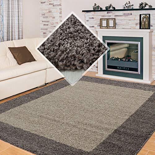 Shaggy, Pelo Largo Salón Alfombra Shaggy 2 de Color 3cm de Altura de Pelo Marrón Moca - Taupe, 200x290 cm