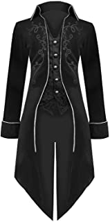 YEAXLUD Men's Gothic Tailcoat Victorian Costume Steampunk Jacket, Renaissance Pirate Vampire Frock Velvet Coat for Halloween
