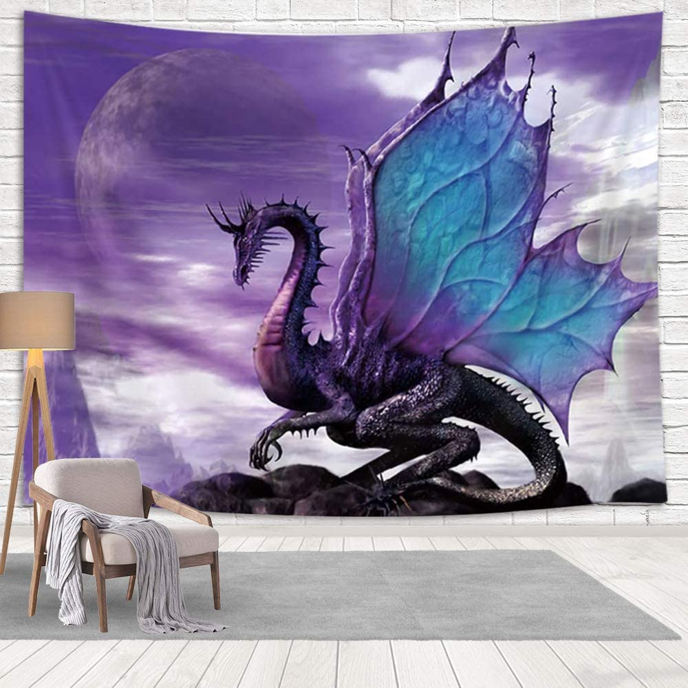 Amazon Com Nymb Purple Dragon Tapestry Wall Hanging Medieval Fantasy Animals Tapestry Psychedelic Wall Art For Bedroom Living Room Dorm Decor 80x60in Large Tapestries Kitchen Dining