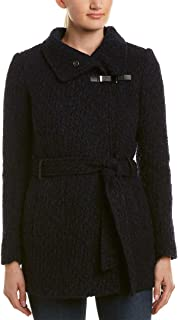 Womens Funnel Collar Belted Boucle Wool