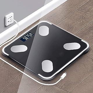 Báscula de baño digital Mini escala electrónica de 26X25cm, de alta precisión, pequeño error, de respuesta rápida, conveniente for la medición de grasa corporal báscula peso corporal (Color : Black)