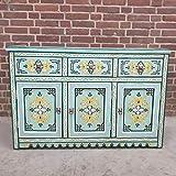 Casa Moro | Cómoda marroquí Turquesa de Madera Maciza con 3 cajones y 3 Puertas, auténtica artesanía de Marrakesch | MO4120