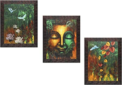 Indianara Set of 3 Pair of Buddha Paintings (3219) without glass 10.2 X 13, 10.2 X 13, 10.2 X 13 INCH