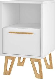 Brv moveis side table, white with open pinus feet (bm 91-159) - 56 cm x 33 cm x 35 cm