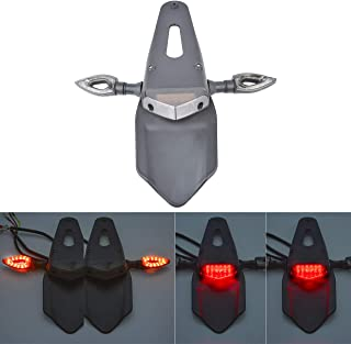 KaTur Motorcycle Rear Fender LED Brake Red Tail Light Lamp with Turn Signal Indicator Blinker Lights for Off-Road Motorbike Motocross Dirt Bike (Red Lens)