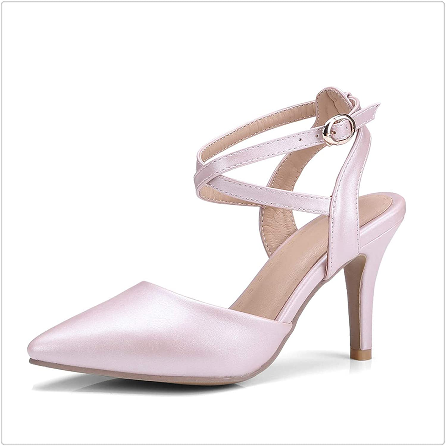 HROST& Women Buckle Sandals High Heels Cross Tied Ankle Strap Pointed Toe Party shoes