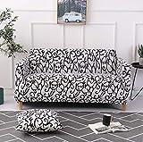 TINE rutschfest Elastische Sofabezug Couch-ÜBerzug FüR SofaüBerwurf Sesselhussen Stretch Sofa-ÜBerwüRfe Mit Blumenmuster FüR 1 2 3 4 Sitzer, Weiß & Schwarz,4Seaters