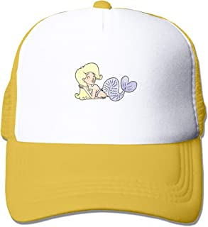 Trucker Hat A Cartoon Mermaid Isolated On Plain Adjustable Summer Mesh Visor Cotton Baseball Cap for Men Women