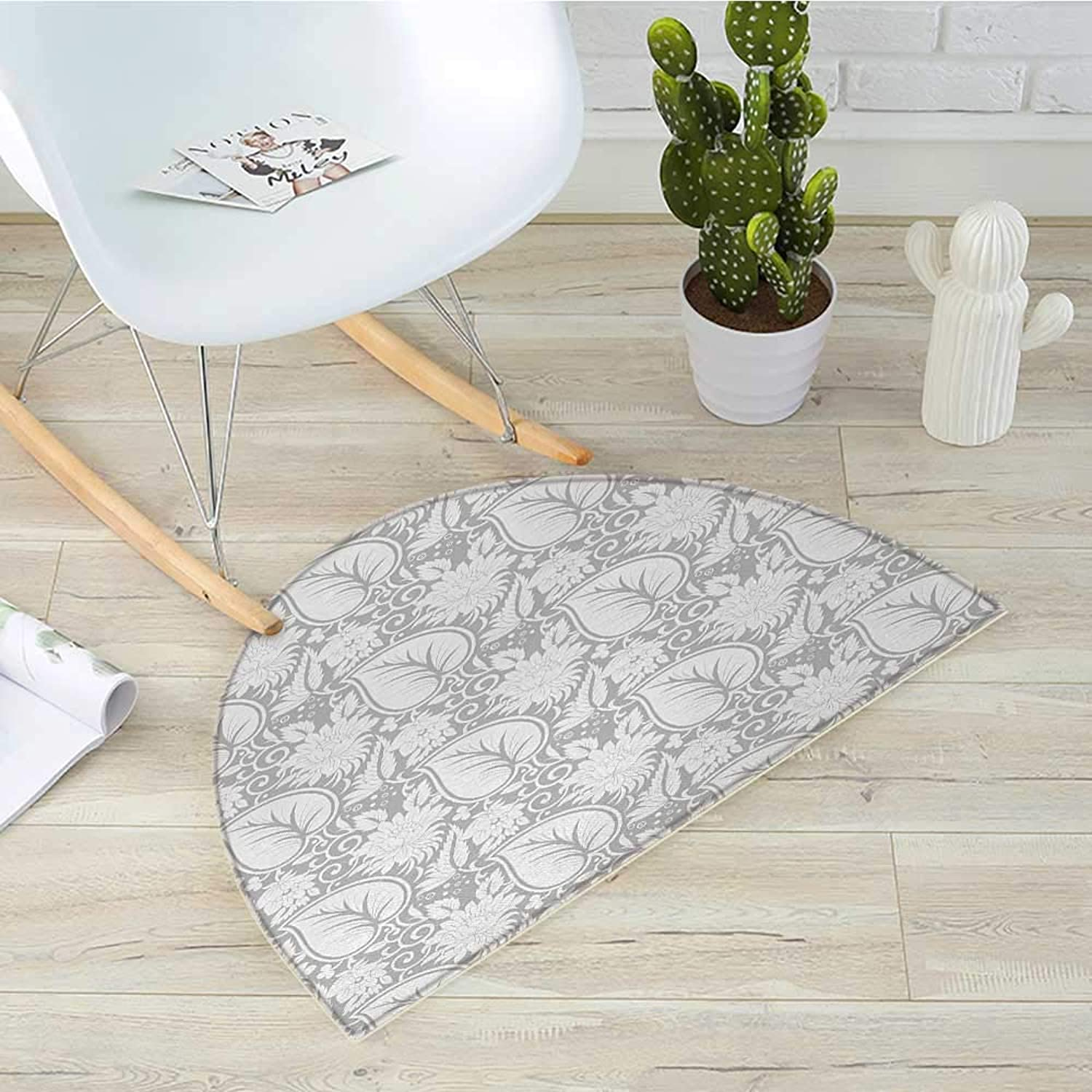 Grey Semicircular CushionBig Leaves on Old Fashion Floral Background Feminine Dramatic Style Retro Graphic Print Entry Door Mat H 47.2  xD 70.8  Grey
