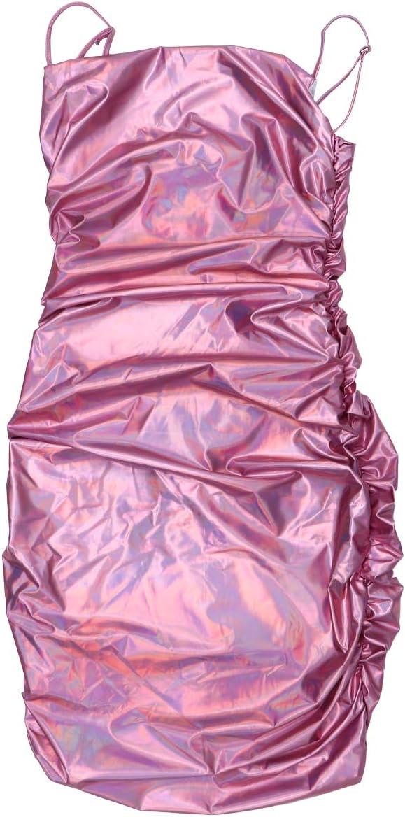 VALICLUD Women Sexy Bodycon Party Dresses Spaghetti Straps Clubwear Slim Slip Dress (L)