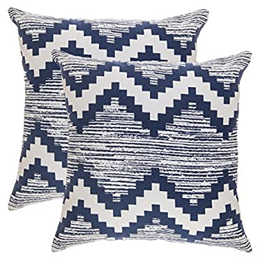 TreeWool Throw Pillowcase Ikat Chevron Accent Pure Cotton Decorative Cushion Cover (20 x 20 Inches / 50 x 50 cm; Navy Blue) - Pack of 2