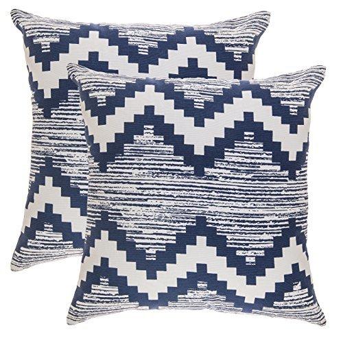 TreeWool - Pack de 2 - Cheurón Ikat Acento Decorativo Fundas de cojín, 100% algodón (50 x 50 cm / 20 x 20 Pulgadas, Azul Marino y Blanco)