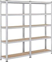 Yaheetech Set van 2 opbergrekken, 180 x 90 x 30 cm, rek voor zware lasten, 10 planken, kelderrek, 875 kg, steekrek, metale...
