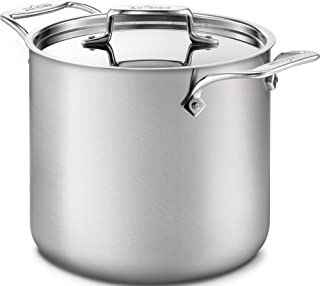 All-Clad BD55507 D5 Brushed 18/10 Stainless Steel 5-ply Bonded Dishwasher Safe Stockpot with Lid Cookware, 7-Quart, Silver