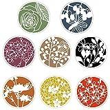 Stencil per bordi di fiori, 8 pezzi Riutilizzabili Stencil da Parete per Pittura ,Plastica Disegno Pittura Modello di Stencil per Scrapbook Pareti DIY Decorazione (7x7 Inch)
