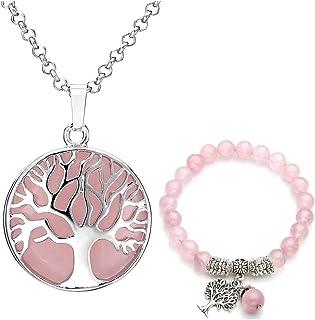 Jovivi - Juego de joyas de piedras preciosas para mujer,