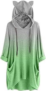 Women Long Sleeve Hoodies Sweatshirt Tops ❀ Ladies Gradient Color Cat Ear Pullover T-shirt Blouse Tunic Tops with Cap