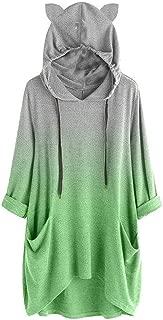 FEDULK Womens Hooded Pullover Long Sleeve Cat Ear Print Baggy Casual Sweatshirt Tops Hoodies Blouse