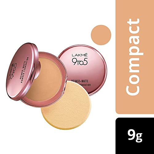 Lakme 9 to 5 Primer with Matte Powder Foundation Compact, Silky Golden, 9g
