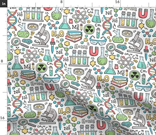 Spoonflower Fabric - White Science Lab School Doodle Chemistry Microscope Test Tubes Magnet Printed on Minky Fabric by The Yard - Sewing Baby Blankets Quilt Backing Plush Toys