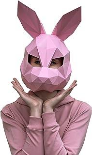 Paperraz DIY 3D الأرنب الوردي قناع الحيوان منخفض بولي ورق كرافت مجموعة بناء - لا حاجة إلى مقص