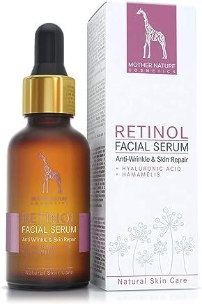 Siero al retinolo con acido ialuronico e Hamamelis - COSMETICO NATURALE VEGAN - 30 ml made in Germany da Mother Nature Cosmetics - idratante viso anti-età, contro rughe e macchie da invecchiamento