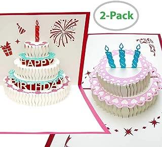 3D Happy Birthday Pop Up Card, Hawwwy 2 Pack, Make Your Card Pop, Cake Pop Up Card, Pop Up Cards All Occassion, Birthday Card Greeting Cards, Say Happy Birthday (Birthday Cake/Birthday Cake)