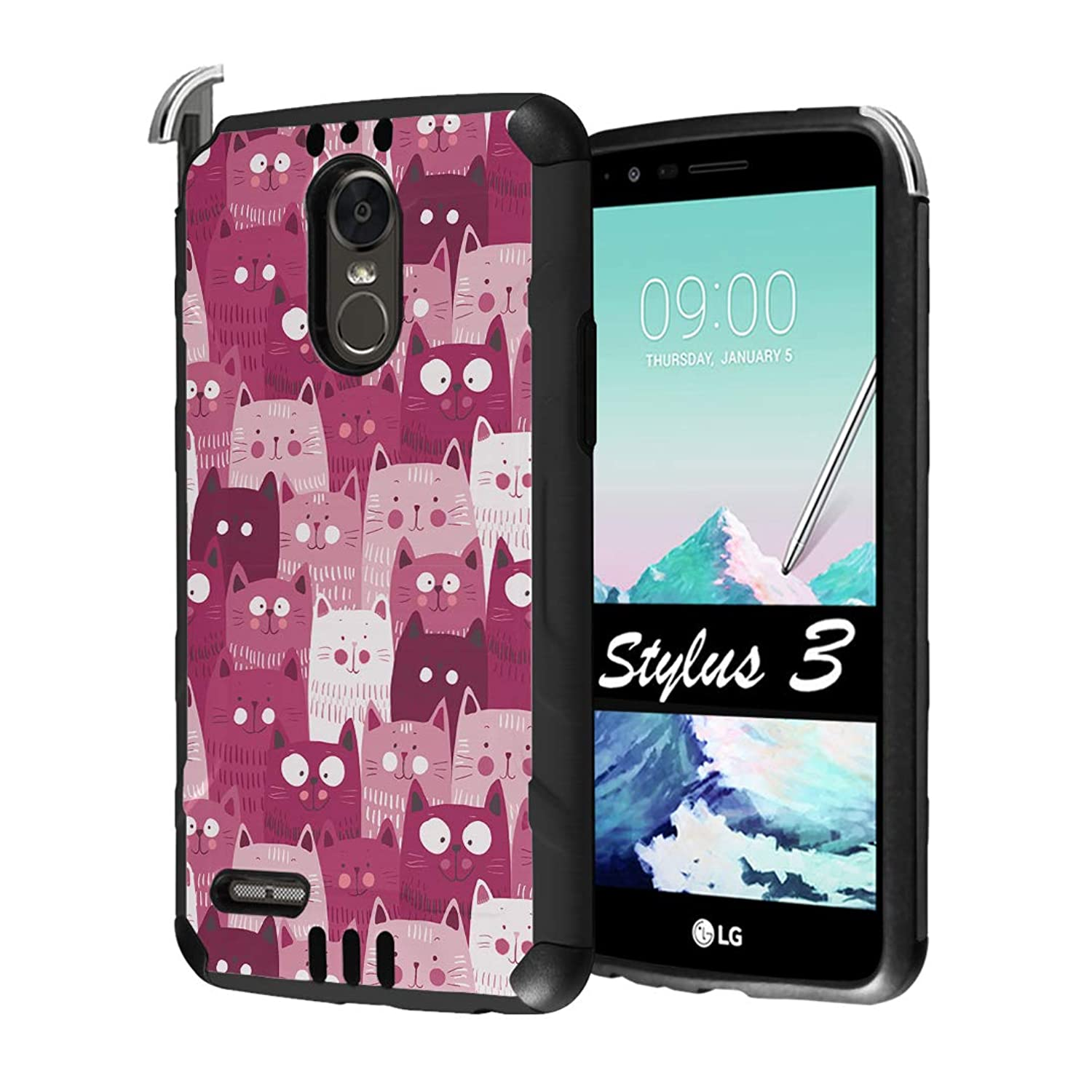 Capsule Case Compatible with LG Stylo 3, LG Stylo 3 Plus [Hybrid Dual Layer Supports Qi Wireless Charging Slim Defender Armor Combat Case Black] for LG Stylus 3 - (Pink Cat)