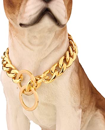 Strong 13/15/19mm Gold Plated Stainless Steel NK Chain Dog Collar Choker Necklace 12-36inch(14inches,13mm)
