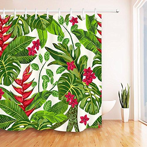 Tropisches Palmblatt wasserdicht Bade-Duschvorhänge, Bananen blätter Polyester Bad Vorhang Dekor, 47, 180x200