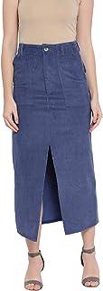 oxolloxo Women's Winter Wear Corduroy Skirt (Blue)