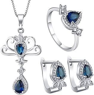 VPbao Chic Cubic Zirconia Necklace Earrings Rings Jewellery Set Navy Blue