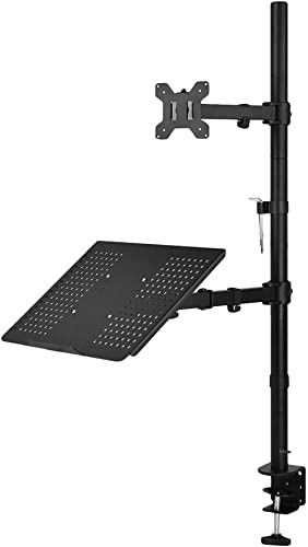 WALI Extra Tall Single LCD Monitor Stand Desk Mount with Laptop Tray for 1 Laptop Notebook and 1 LCD Monitor Mount, F...