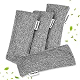 Natural Activated Bamboo Charcoal Bags 4 Pack, Home Air Purifying Bag, Car Odor Eliminator, Shoe Deodorizer, Closets Odor Absorber