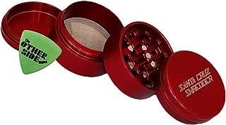 Medium Santa Cruz Shredder Red Aluminum 4 Piece Grinder + Custom Pollen Pick Bundle