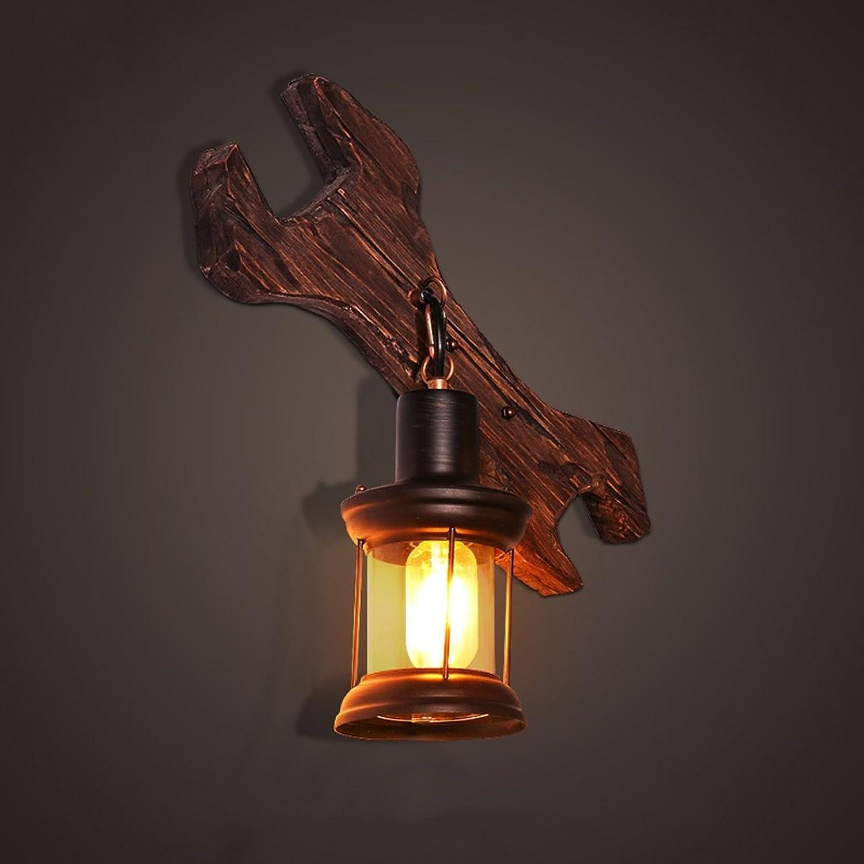 The harvest season- Retro Wrench Wandleuchte Industrial Wind Schlafzimmer Bedside Lampe LOFT Massivholz Lampen -E27