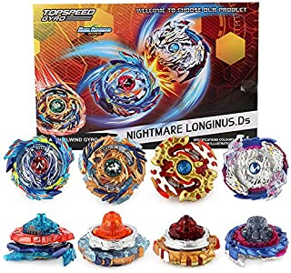 Heeptoy-158-6T-Bay Battle Battling Top Burst Gyro, 4X High Performance Tops Attack Set with Launcher and Grip Starter Set