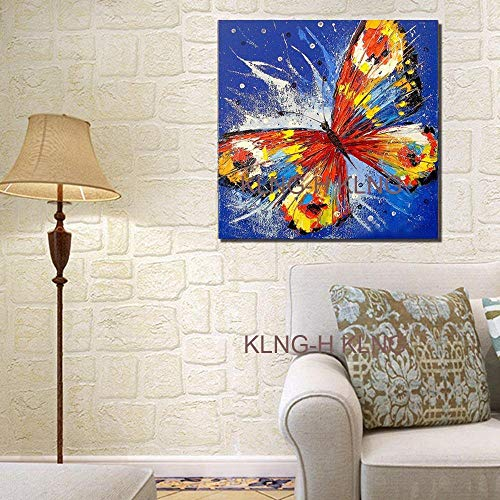 crjzty DIY Pintar por números Juego Pintura al óleo Pintura Moderna Cuadros de Arte Mariposa Verde Dibujar Animales en la Mesa de Pintura en la Pared de la Sala de Estar Decorar-High_widthcm_KH